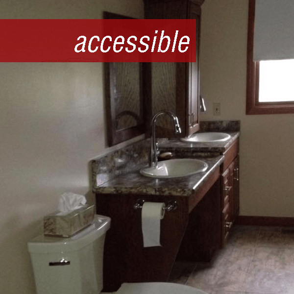 Vanity shown is wheelchair accessible or ADA compliant on the left with a standard vanity on the right.