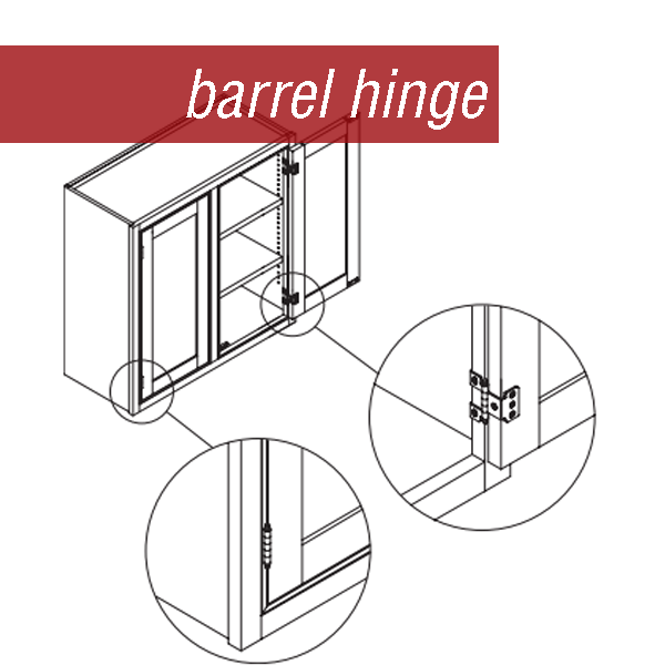 Line drawing of a wall cabinet using a barrel hinge.  Shows hinge from all angles.