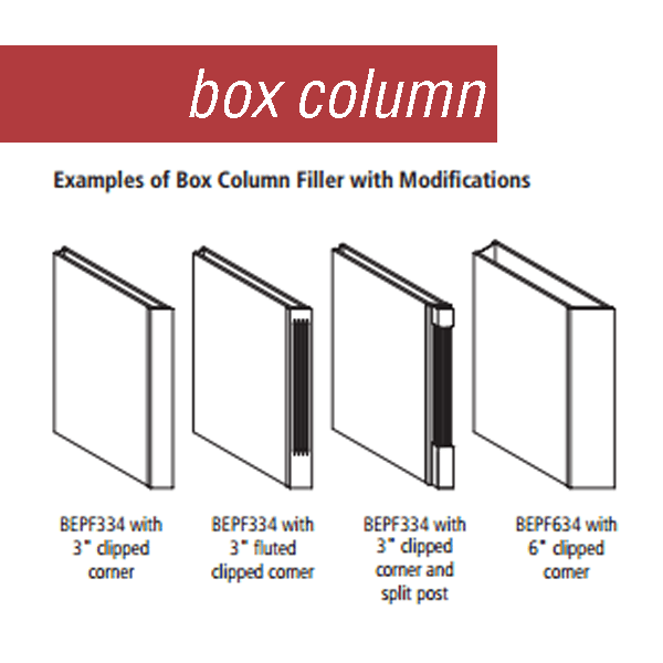 Line drawings of various box column style options by Medallion Cabinetry.