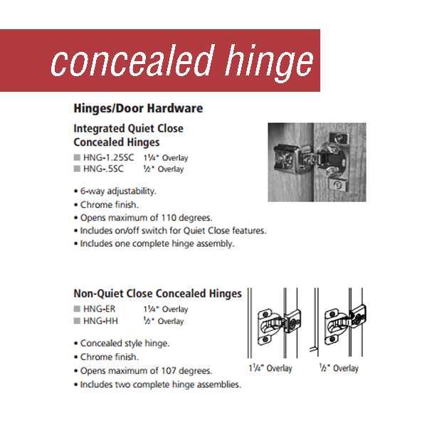 Adjustable hinge options from Medallion Cabinetry