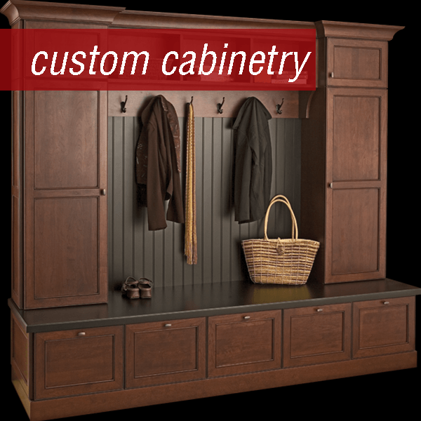 Custom coat room cabinetry, also referred to as mud room lockers by Dura Supreme. Shown in Cherry with custom stain.