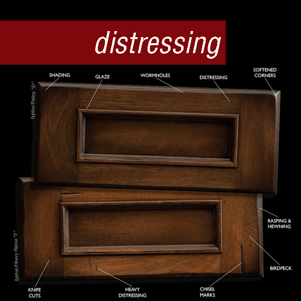 Dura Supreme drawer fronts with sample distressing techniques