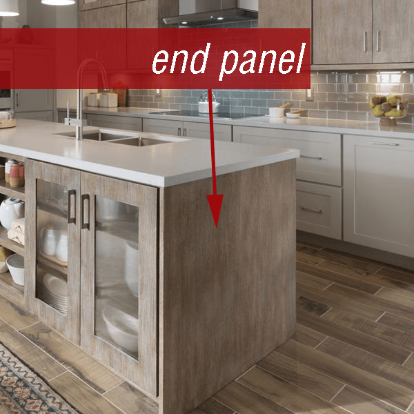Contemporary weathered kitchen island by Medallion Cabinetry with flat end panel