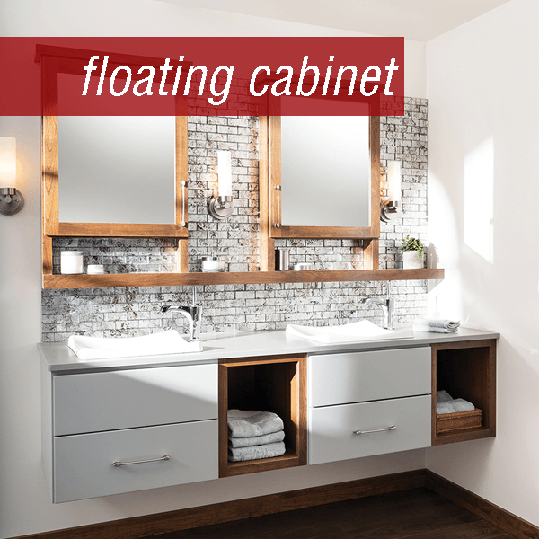 Dura Supreme floating double vanity floating cabinet with drawers  open shelves.  White  Cherry combination.