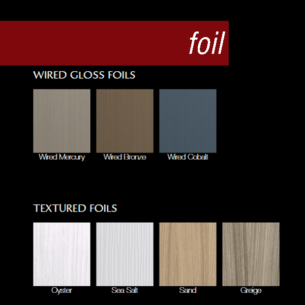 Dura Surpeme has many foil options available.  Shown here are the wired gloss foils in Mercury, Bronze,  and Cobalt & four textured foils in Oyster, Sea Salt, Sand, and Greige.