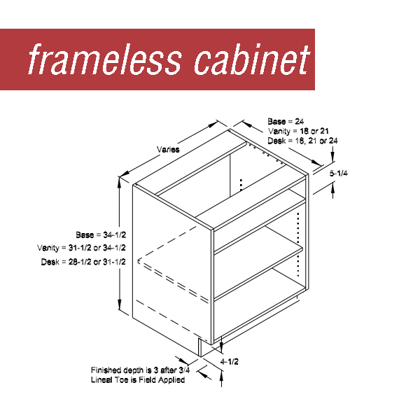 Line drawing of a frameless Dura Supreme cabinet.