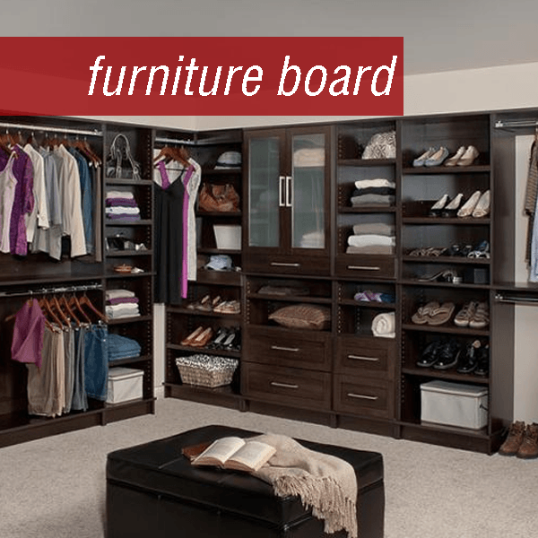 WoodTrac custom closet made of furniture board material. Closet Storage Systems give home closets more than just hanging space. Closet cabinets with shelves are great for shoe storage and closet drawers help organize smaller items like socks.