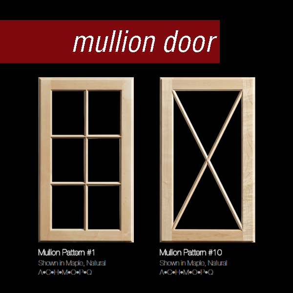 Shown here are two of Dura Supreme's mullion doors - traditional grid mullion door and an X pattern mullion door - in natural maple with clear glass.