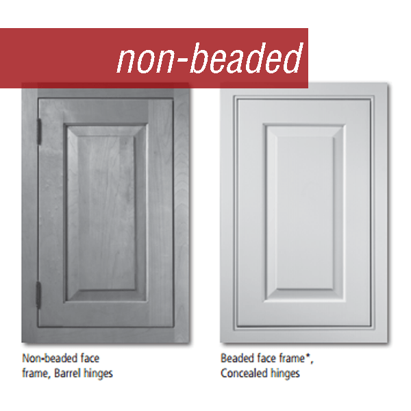 Medallion Platinum Cabinetry beaded and non-beaded cabinet door shown side by side.