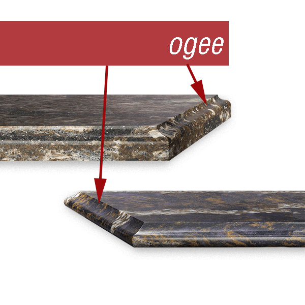 Cambria quartz countertop edge profiles. Top is Glacial edge, which is a classic ogee profile, and the bottom is Basin edge which is a thinner ogee profile egde.