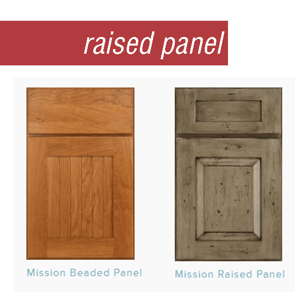Medallion Cabinetry's Mission style door in cherry with a beaded center panel next to a Mission style door in knotty alder with a raised center panel