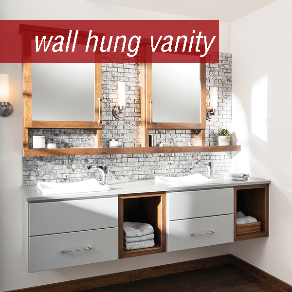 Dura Supreme wall hung bathroom vanity in Chrome, door painted white with cherry framed mirror, vanity shelf, and open shelves.