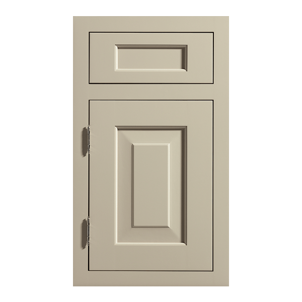 Inset Hawthorne door with non-beaded frame & exposed brushed nickel barrel hinges in Maple with greige paint