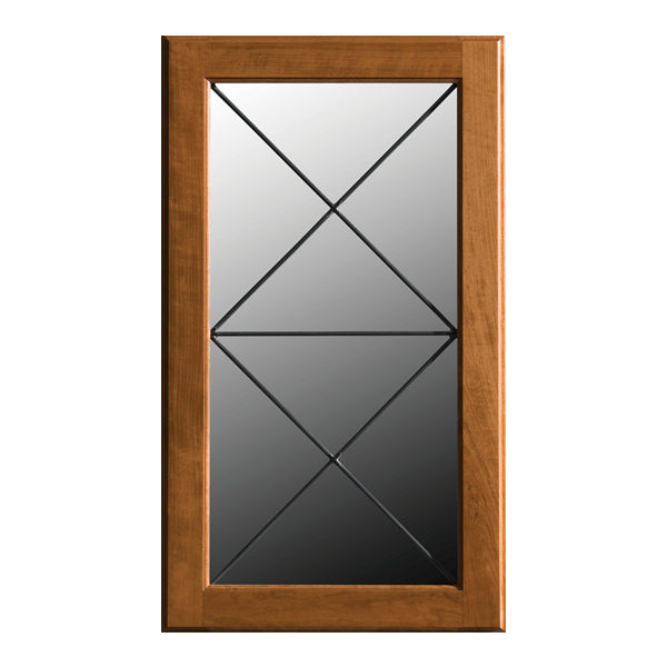 Dura door in golden brown finish with leaded glass featuring a double 'X' pattern