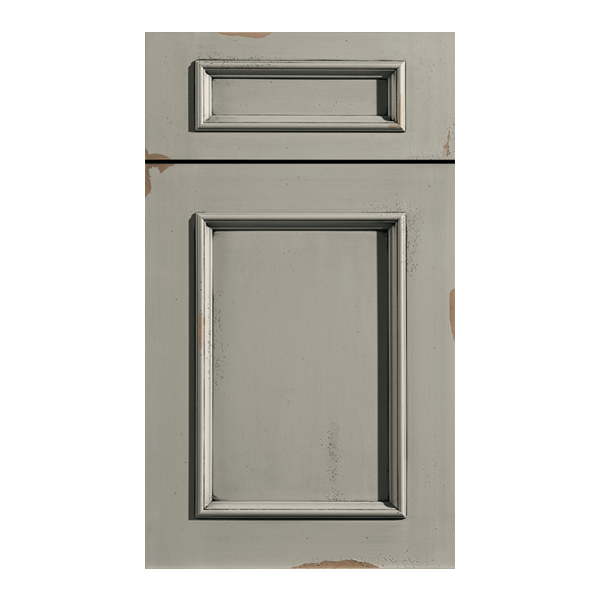 Dura Supreme Vintage Door with Heritage paint featuring distressing, rub through on the painted finish, & worm holes.
