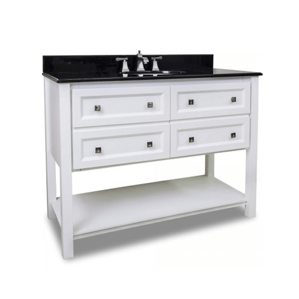 White 48 inch vanity with black granite top and white undermount bowl with four drawers and open shelf