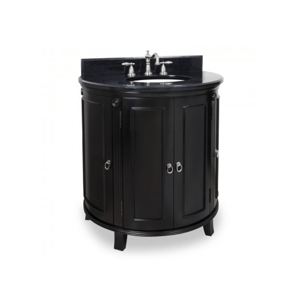 curved front black finished vanity with black stone top and brushed nickel hardware with traditional details