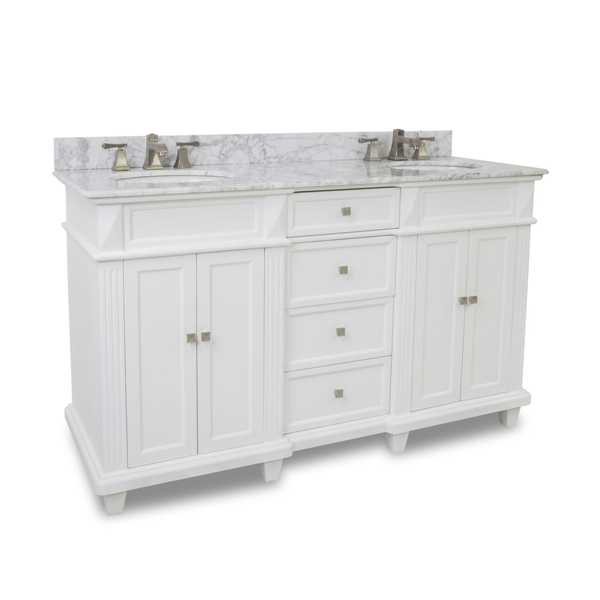 white double vanity with recessed drawer stack in the center, decorative feet, and marble top.