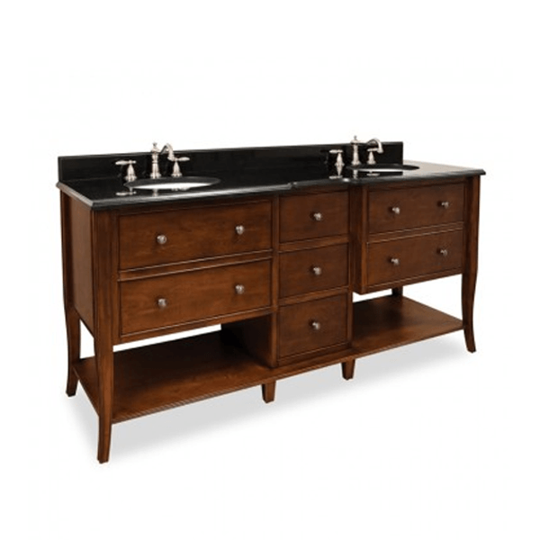 72 inch double bowl vanity in warm cherry finish and seven drawers and open bottom shelves