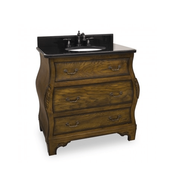 Three drawer vanity resembling a vintage walnut dresser with black granite top and white undermount sink