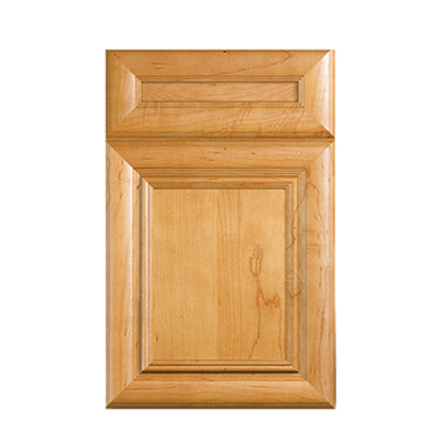 Legacy Advantage Camden flat panel pillowed door with five piece drawer front shown in Maple Toast.
