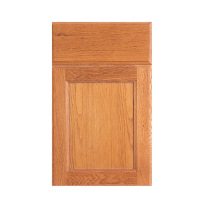 Advantage Dover flat panel door with slab drawer front shown in Oak Toast.