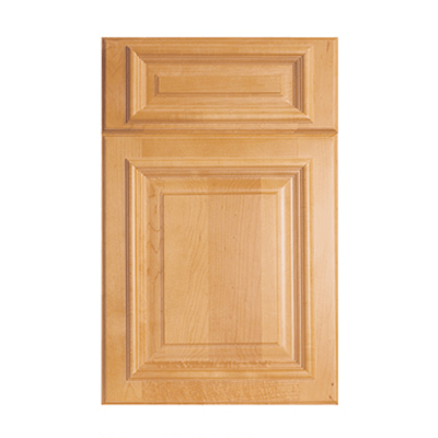 Legacy Debut Parma raised panel door with applied molding and five piece drawer front shown in Maple Light.