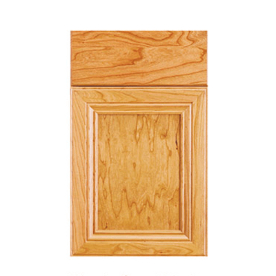 Legacy Debut Princeton flat panel mitered door with slab drawer front shown in Natural Cherry.