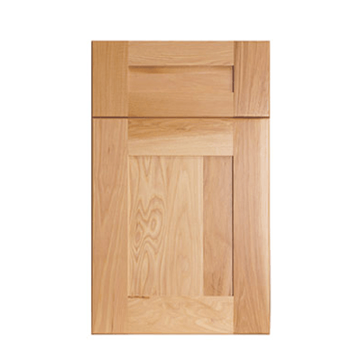 Legacy Debut Torino flat panel wide rail shaker door with five piece drawer front shown in Natural Hickory.