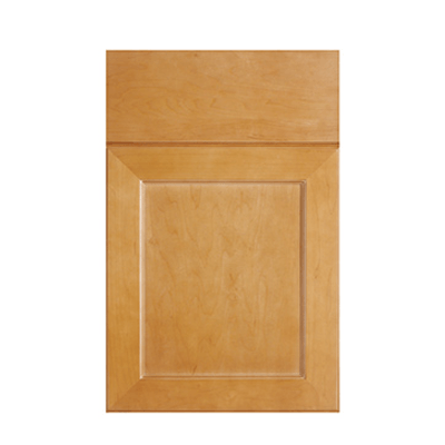 Legacy Cabinetry Advantage Vista flat panel mitered door with slab front drawer front shown in Maple Toast.