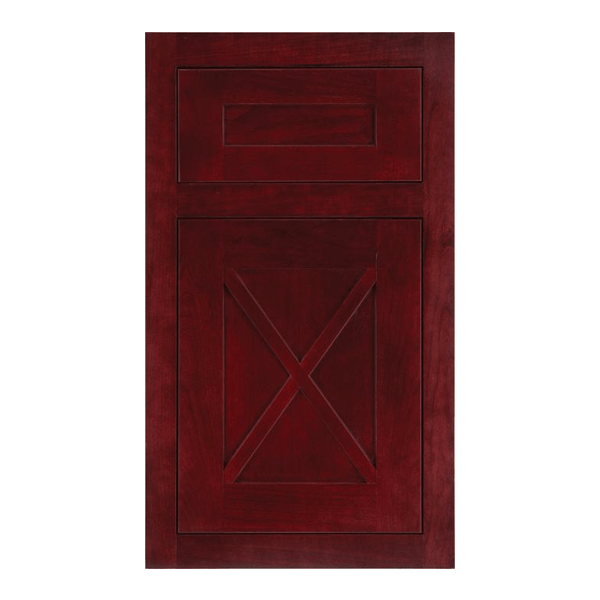 Inset Amesbury door with five piece drawer front in Cherry with Sangria finish.