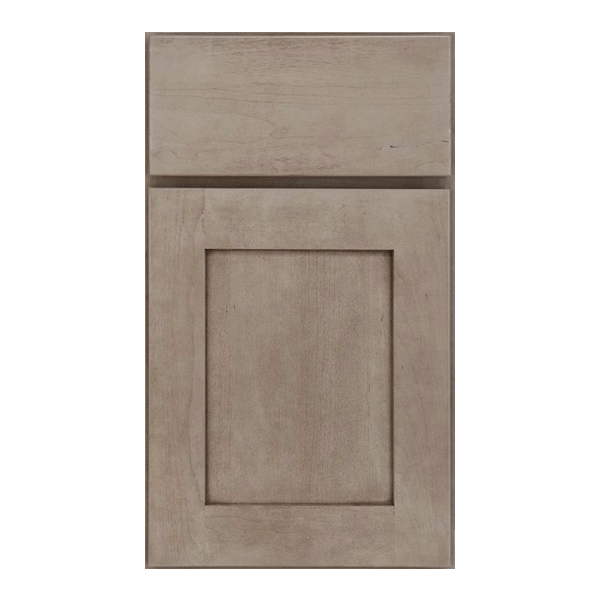 Silverline Caraway flat panel door with slab drawer front in Cherry with Peppercorn finish.