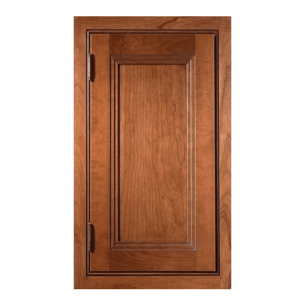 Craftsman inset flat panel door with beaded face frame in Cherry with Pecan stain and Burnt Sienna Glaze.