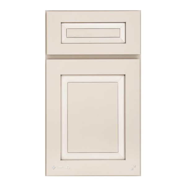 Potter's Mill raised panel door with five piece drawer front in MDF with Irish Creme paint and Pewter Highlight.