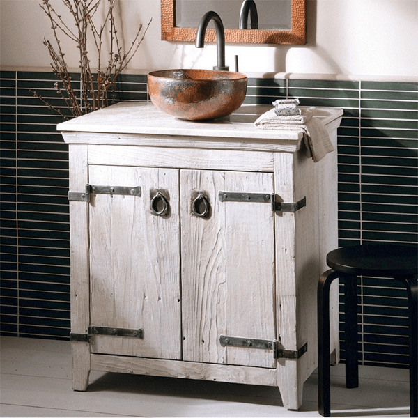 Rustic white washed double door vanity with black strapping made of reclaimed barnwood