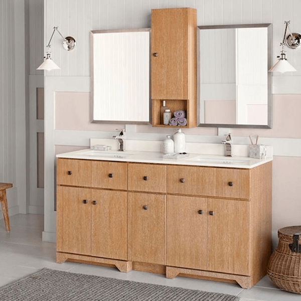 modular double bowl vanity with storage tower in a soft vintage honey finish