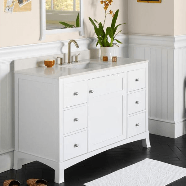 vanity features classic white paint with soft clean line to match