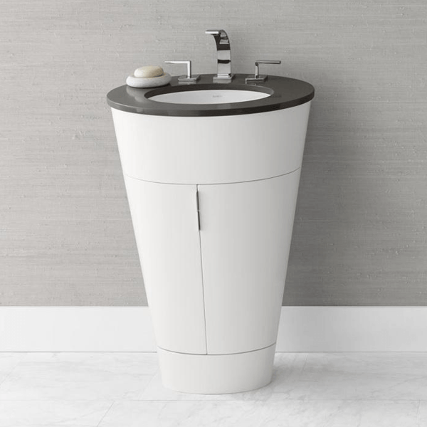 White inverted cone shaped vanity with double doors and only takes up as much room as a pedestal.