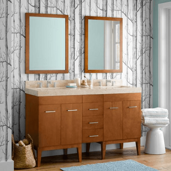 contemporary double bowl vanity with center stack of drawer in a honey brown finish